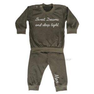 bedrukte-pyjama-baby-kind-naam-sweet-dreams-legergroen