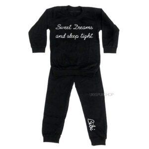 bedrukte-pyjama-baby-kind-naam-sweet-dreams-zwart