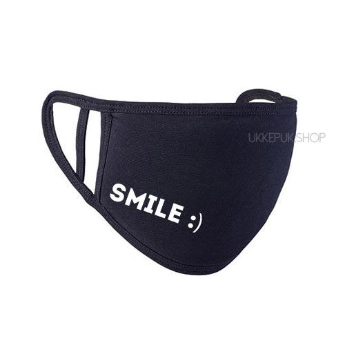 mondkapje-mondmasker-mondkap-bedrukt-smile-glimlach-zwart