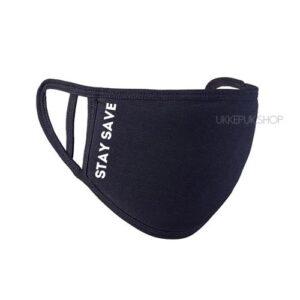 mondkapje-mondmasker-mondkap-bedrukt-stay-safe-zwart