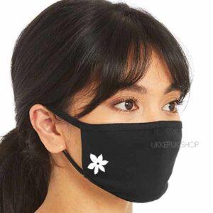 mondmasker-mondkapje-mondkap-opdruk-bloem-flower-zwart