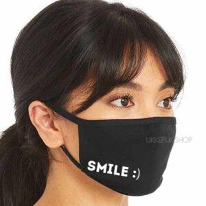 mondmasker-mondkapje-mondkap-opdruk-smile-glimlach-lach-zwart