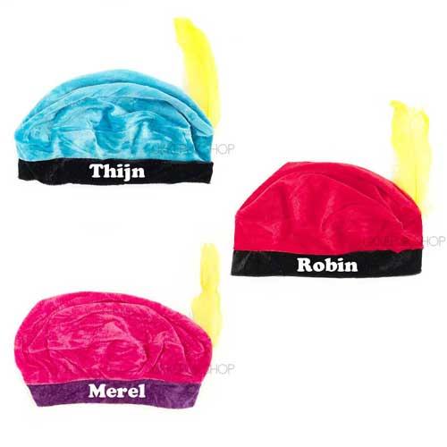 pietenmuts -met-naam-zwarte-pietenmuts-sinterklaas-baret-muts-intocht-pieten-zwarte-piet-blauw-roze-rood