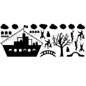 raamsticker-raamstickers-sinterklaas-sint-stoomboot-boot-pakjesboot-zwarte-piet-pieten-cadeautjes-presents-present-gift-huizen-straat-straatje-statisch-herbruikbaar-raamfolie-hollandse-huisjes-basisstraat