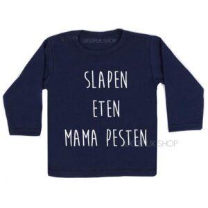 shirt-baby-kind-mama-mam-moeder-moederdag-slapen-eten-mama-pesten-blauw