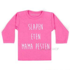 shirt-baby-kind-mama-mam-moeder-moederdag-slapen-eten-mama-pesten-roze