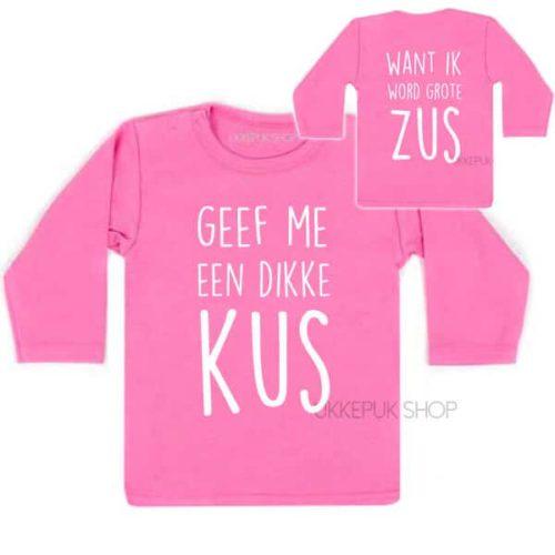 shirt-grote-zus-kus-zwanger-roze-voor-achter