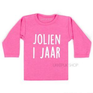 shirt-naam-1-jaar-eerste-verjaardag-verjaardagsshirt-shirt-feest-hoera-roze