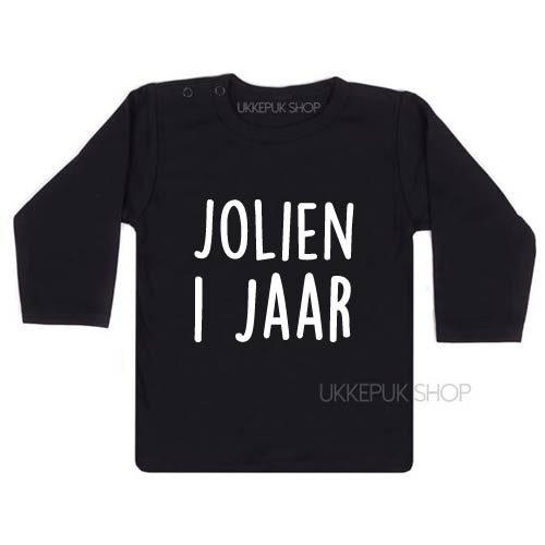 shirt-naam-1-jaar-eerste-verjaardag-verjaardagsshirt-shirt-feest-hoera-zwart