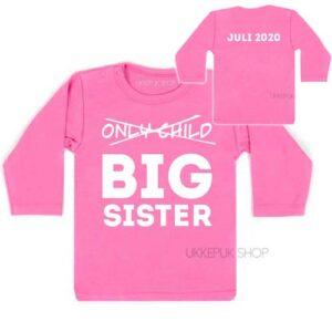 shirt-roze-only-child-big-sister-voor-achterkant