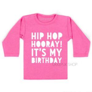 shirt-verjaardag-hip-hop-hooray-birthday-kleuter-jarig-feest-kinderfeest-roze