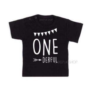 shirt-verjaardag-jarig-1-one-jaar-verjaardagsshirt-one-derful-zwart