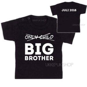 shirt-zwart-only-child-big-brother-voorkant-achterkant