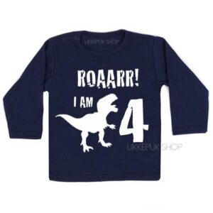 verjaardagsshirt-jarig-dino-4-jaar-shirt-jarig-kind-dinosaurus-feest-blauw