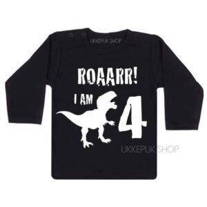 verjaardagsshirt-jarig-dino-4-jaar-shirt-jarig-kind-dinosaurus-feest-zwart