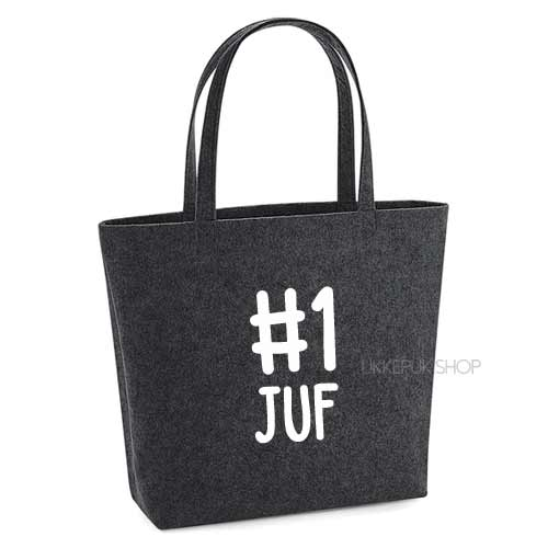vilten-tas-bedrukt-juf-nummer-1-big-shopper-boodschappen-boodschappentas-donkergrijs